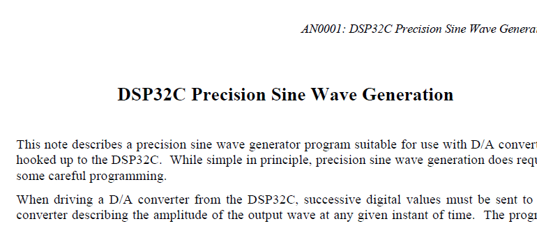 DSP32C SINE WAVE TEXT